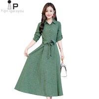 Ladies Dresses Long Sleeve Vintage 2019 Autumn Slim Big Swing Dress Plus Size Women Cotton Linen Maxi Dress Elegant Vestidos 3XL