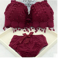 Hot sale New brand sexy big size push up bra set floral embroidery lace women underwear set bra and panties