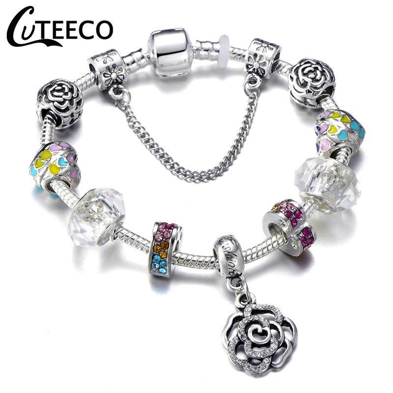 CUTEECO 925, модный серебряный браслет с шармами, браслет для женщин, Хрустальный цветок, сказочный шарик, подходит для брендовых браслетов, ювелирные изделия, браслеты - Окраска металла: AJ3034
