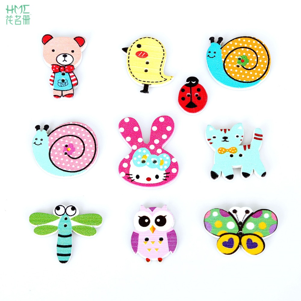 100pcs/bag 2 Holes Mixed Cartoon Animal Wooden Button for Sewing Accessories DIY Craft Scrapbooking Making