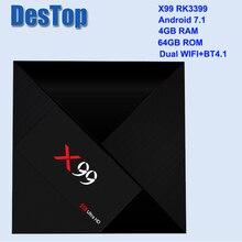 X99 4GB 64GB Rockchip RK3399 Android 7.1 TV BOX 802.11AC 2.4G 5G double WIFI BT4.1 1000M LAN USB3.0 type c lecteur multimédia I8 option