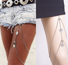 wholesale legs Thigh chain jewelry Punk Anklets Sexy Coin Tassels Leg Chain Fashion caved Jewelry