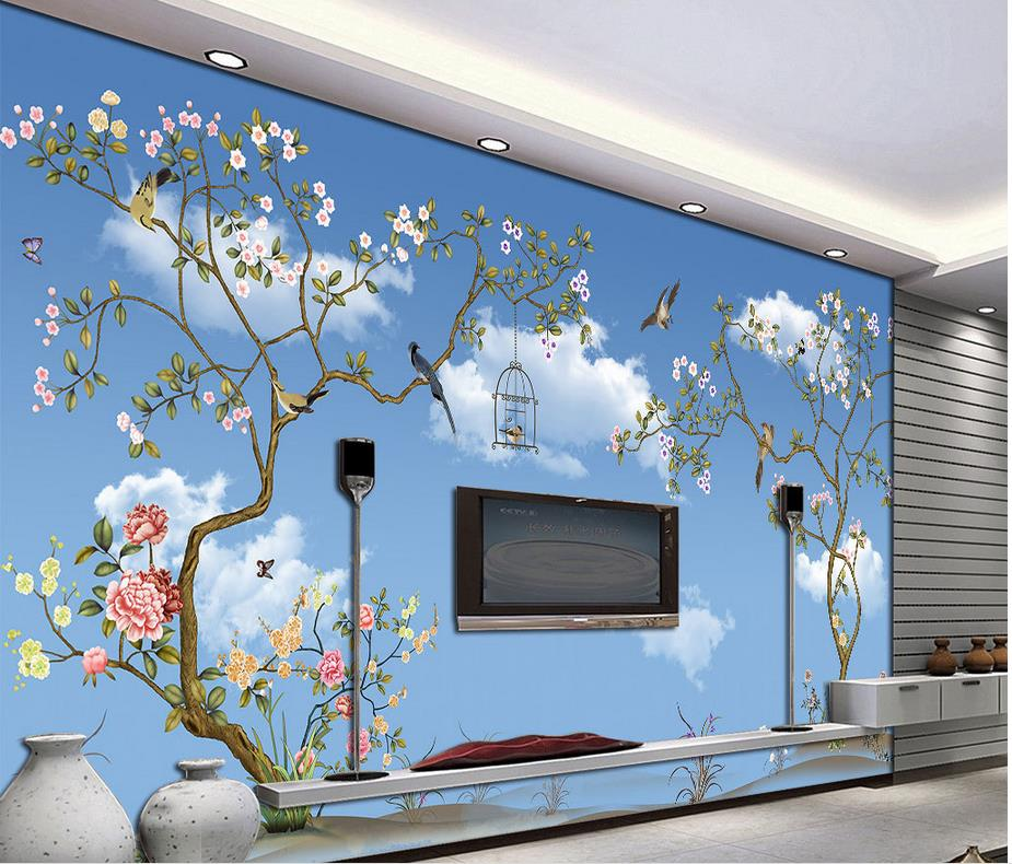 custom 3d wallpaper Blue sky and white clouds tree bird customized wallpaper for walls mural 3d wallpaper custom baby wallpaper snow white and the seven dwarfs bedroom for the children s room mural backdrop stereoscopic 3d