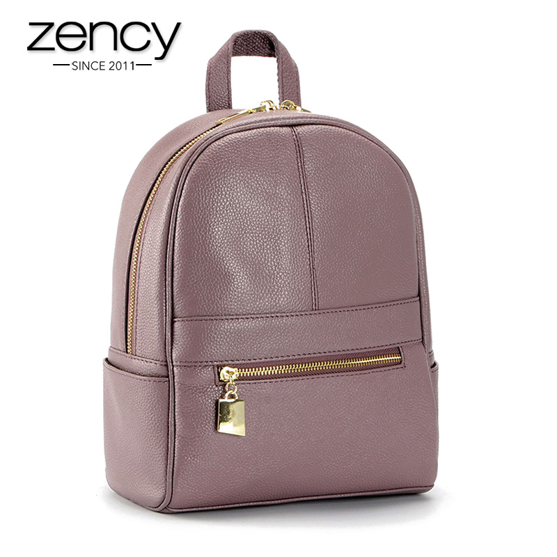 ФОТО 4Cls Classic Fashion Genuine Leather Backpack Women Bags Preppy Style Knapsack Girls School Book Zipper Shoulder Women Back Pack