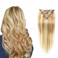 New 7 Pieces 20inch Clip In Remy Real Human Hair Extensions Full Head Hair Clip In Human Hair Extensions Body Wave Wig 40pNo24