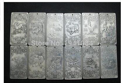 Rare prata Buda 12 moedas do zodíaco + encantos thangkas Tibetanos do Tibete e Nepal thangka COINS12/pcs Tibetano Prata BRONZE decoração