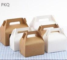 50 pçs de alta qualidade kraft papel favor caixa cupcake com alça caixa de embalagem de papel branco caixas de bolo festa caixa de presente cartão