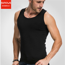 Men s Close fitting Vest Fitness Elastic Casual O neck Breathable H Type All Cotton Solid