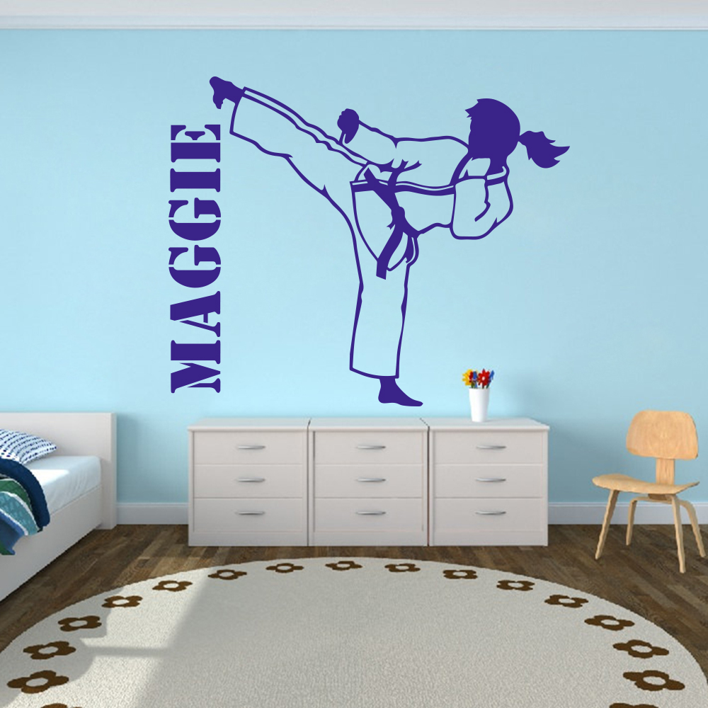 US $8.77 13% OFF|Custom Name Karate Martial Taekwondo Wall Decal Girl Room  Personalize Boxing Judo Sport Wall Sticker Bedroom Playroom Vinyl-in Wall  ...