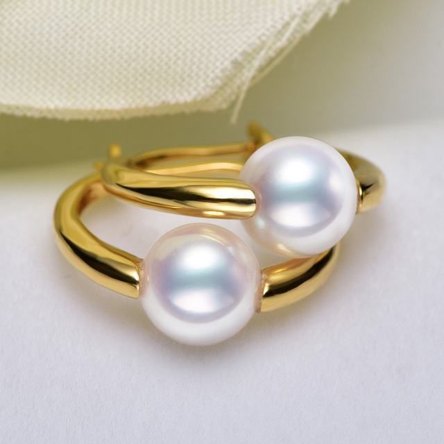 [YS] Natural Akoya Pearl Earring 7-7.5mm White Saltwater Pearl AAA Pearl 18K Gold Earrings Jewelry