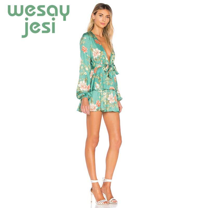 Dress Women 2019 fashion Elegant floral print Dress Stylish long sleeve v neck mini sexy sweet summer vestidos in Dresses from Women 39 s Clothing
