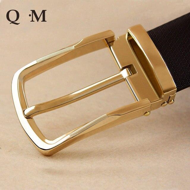 Negro/Brown de Los Hombres Correa de Cuero Genuina de Los Hombres de piel de Vaca Pin Hebilla Cinturones Diseñador de la Marca Cintos Cinturon Hebilla de Oro y Plata 2016 Nuevo