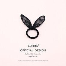 цены на 2 Pieces/Lot Cute Black Lace Bunny Rabbit Ear Ribbon Headwear Elastic Hair Bands For Girls and Women Accessories Hot Sale  в интернет-магазинах