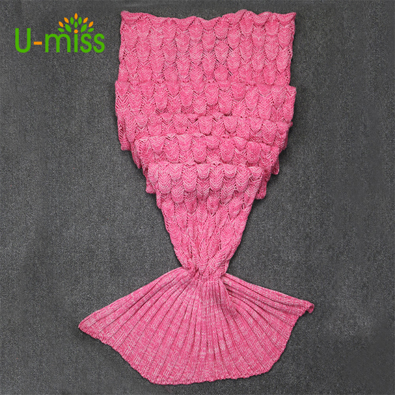 U-miss Child Adult Fish Sleeping Bag Knitted Mermaid Tail Blankets For Bed Sofa Home Textile Throw On The Blanket
