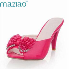 Maziao 2018 Kecil Ukuran 33-43 Sandal Wanita Sandal Sepatu Hak Tinggi Wanita  Pompa Sepatu e78cc976eb