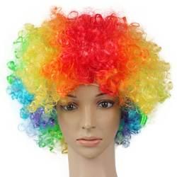 Хэллоуин Дискотека клоун вьющиеся афро Цирк Необычные платья парики волос Рождество Детский костюм для вечеринок