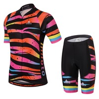 Girls Cycling Jersey Set Team Sports Cycling Jersey & Bib Shorts Set Maillot Ciclismo Kids Balance Bikes Kit Children's Gift