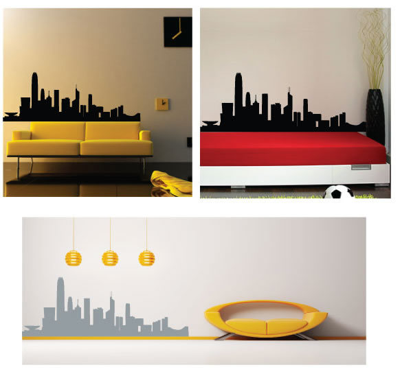 famous hongkong skyline landmarks removable wall decor decal sticker