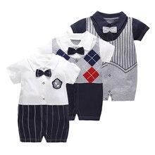 Summer Gentleman Clothes Baby Jumpsuit Cool Boys Fashion Rompers Short Sleeves Black Newborn Kids 1 Year