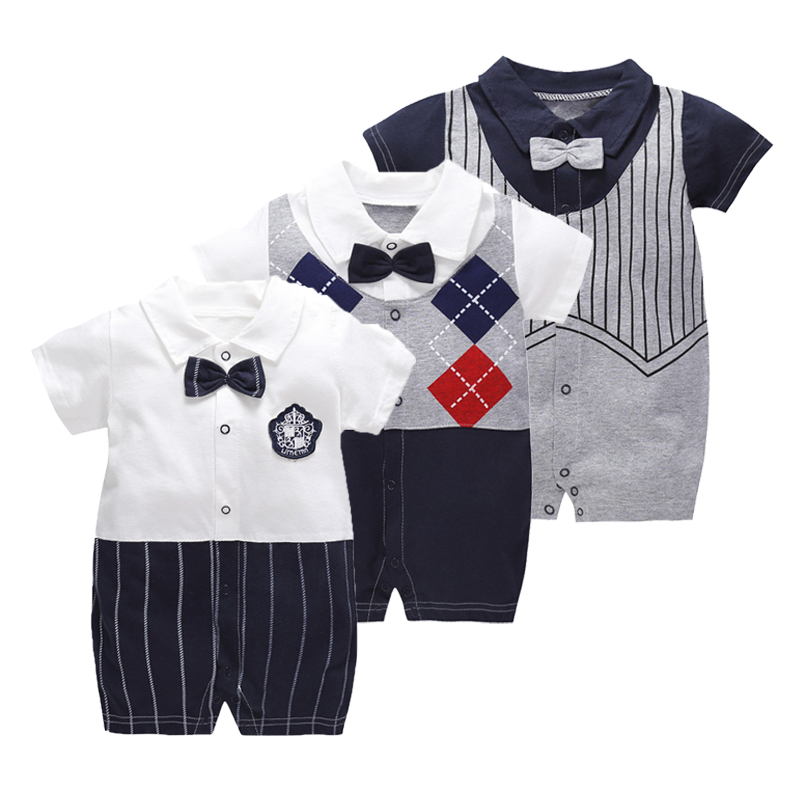 Summer Gentleman Clothes Baby Jumpsuit Cool Boys Fashion   Rompers   Short Sleeves Black Baby Clothes Newborn Kids   Rompers   1 Year