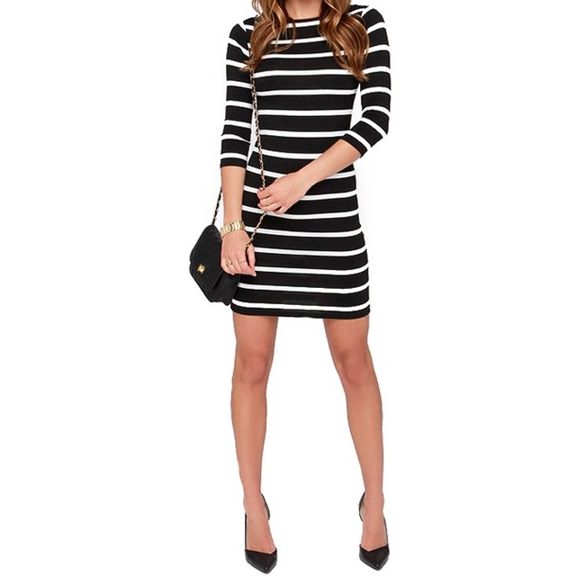 black and white stripes long sleeves Slim plus size casual dress 2