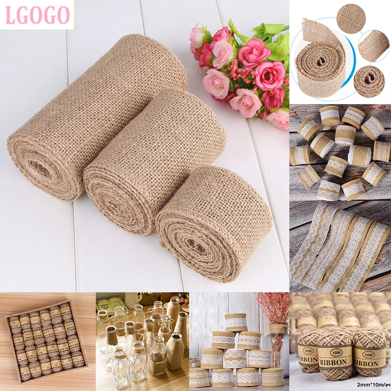 Diy Burlap Wedding Ideas: LGOGO 2M Burlap Ribbon Jute Wedding Decoration Rustic