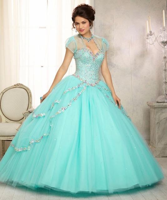 Elegante Vestido Doce Para 15 16 Hortelã Azul Tulle vestido de Baile Vestidos Quinceanera 2017 Querida Com Jaqueta Frisado Vestidos De Lantejoulas