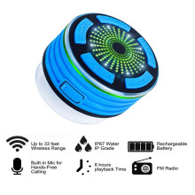 2017 New Design Spherical IPX7 Waterproof Bluetooth Bathe Speaker with FM Radio and LED Mild