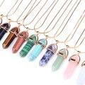 Chapado En oro Cadena 11 Collares Colgantes de Piedra Natural de Cuarzo de Color Bullet Collar de Cristal Para Las Mujeres de Joyería de Moda Del Regalo Del Partido