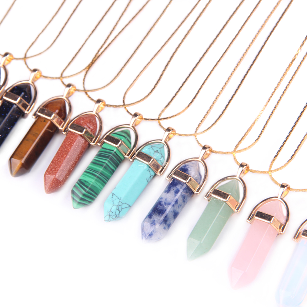 Gold Plated Chain 11 Color Quartz Necklaces Pendants Natural Stone Bullet Crystal Necklace For Women Fashion Jewelry Party Gift
