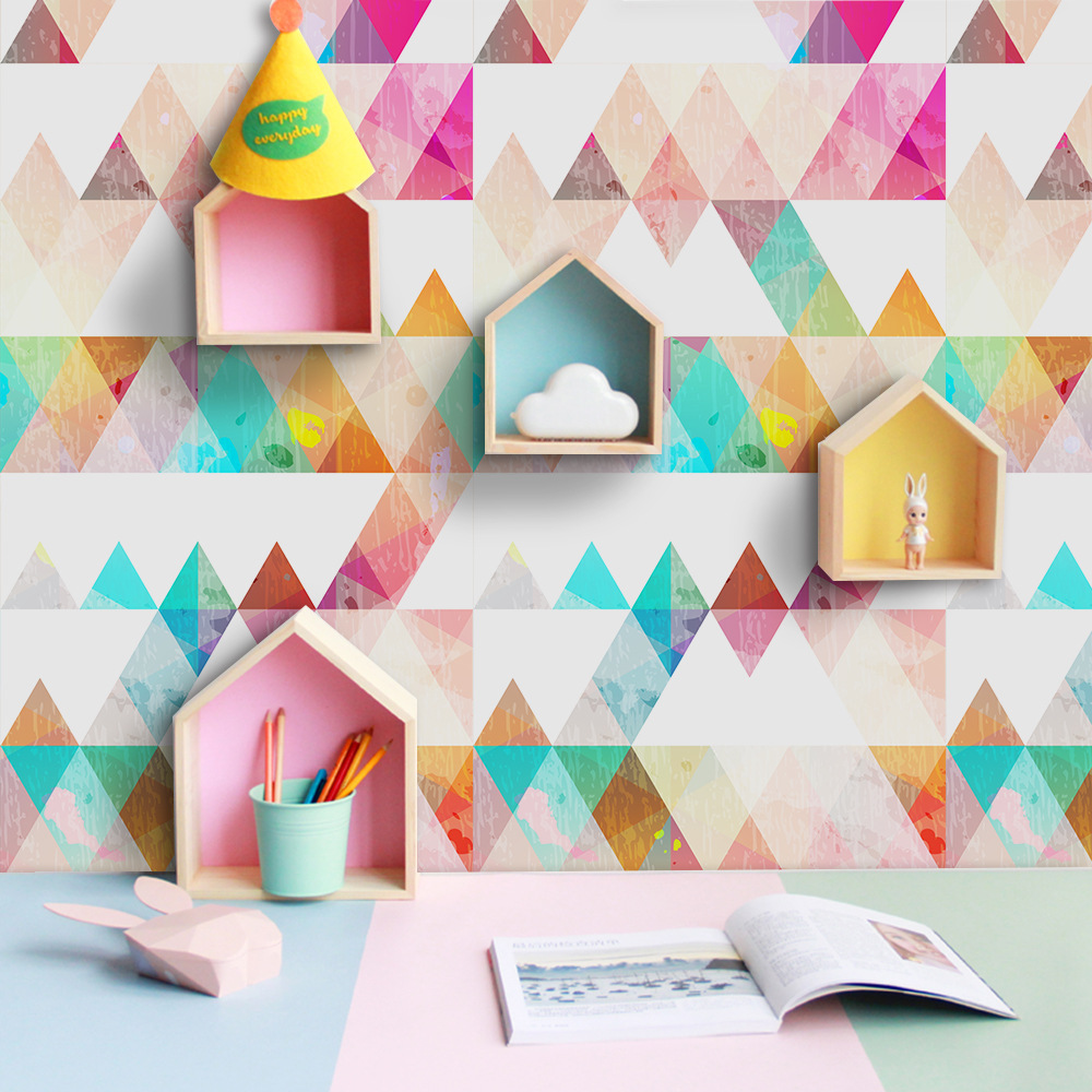 Colorful Abstract Nordic Modern Waterproof Self Adhesive Wallpaper For Children Room Wall Sticker For Furniture Home Decor