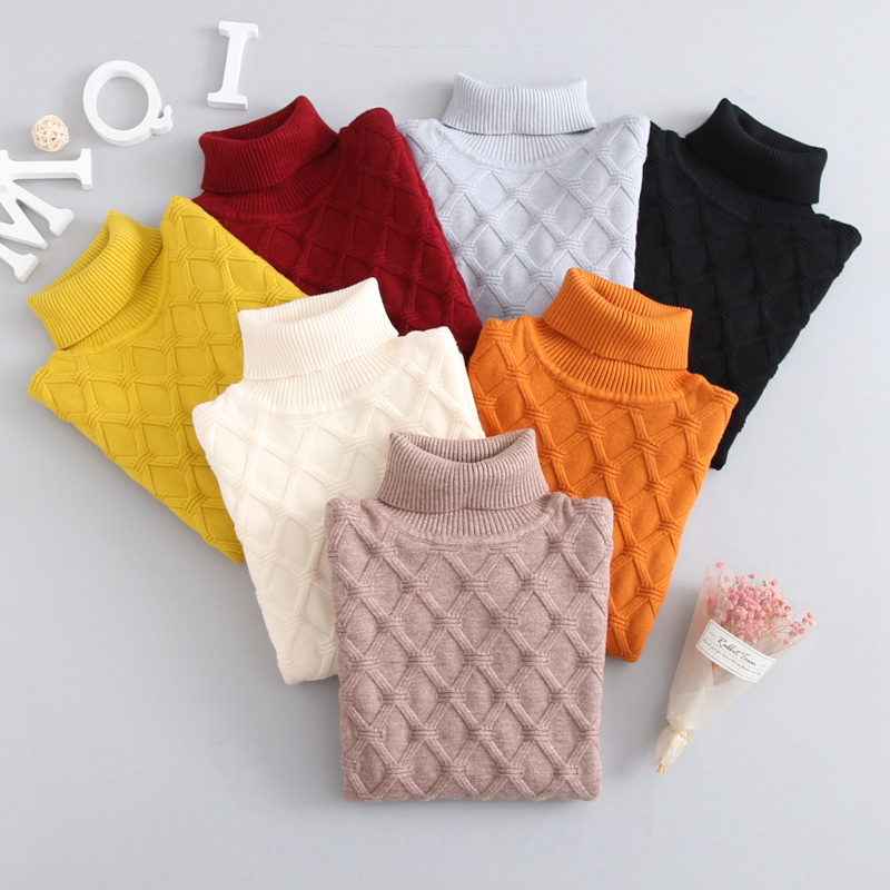 Winter Autumn 2T 7T Pure Color Winter Boy Girl Kid Thick Knitted Bottoming Turtleneck Shirts Solid High Collar Pullover Sweater-in Sweaters from Mother & Kids