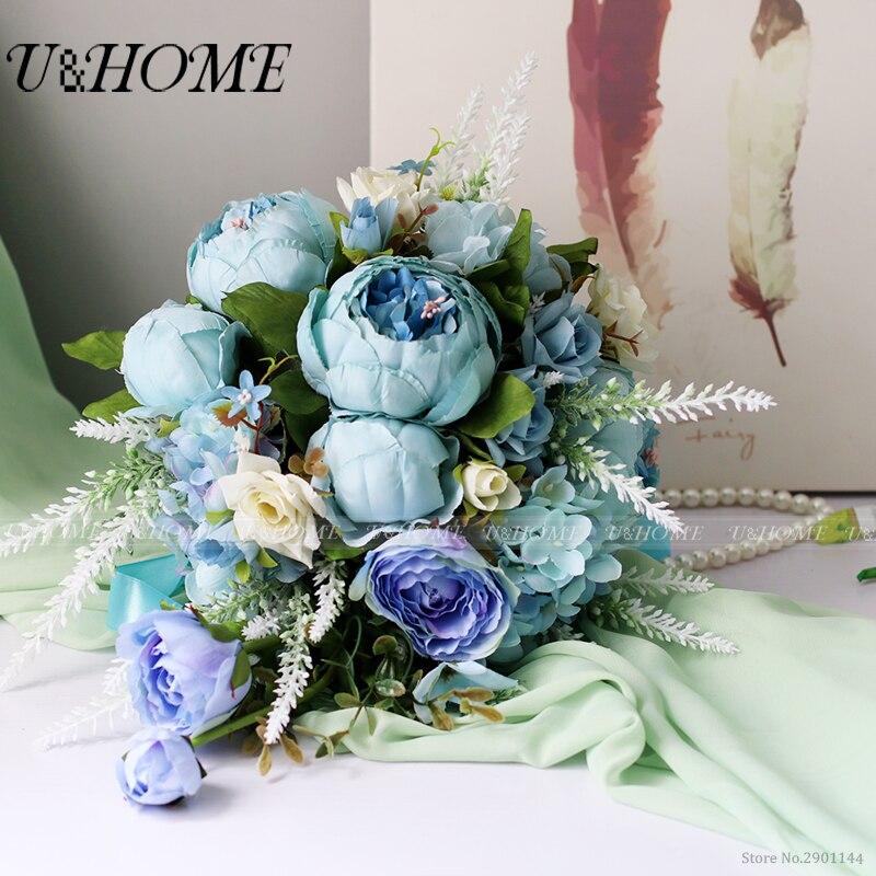 U&Home artificial DIY <font><b>flower</b></font> bride bouquet silk rose blue peony white lavender for home table wedding decoration bulk new