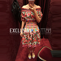 2017 Runway Designer New Summer Dress Women's High Quality Short Sleeve Elastic Belt Flowers Rose Print Sexy Slash Neck Dress