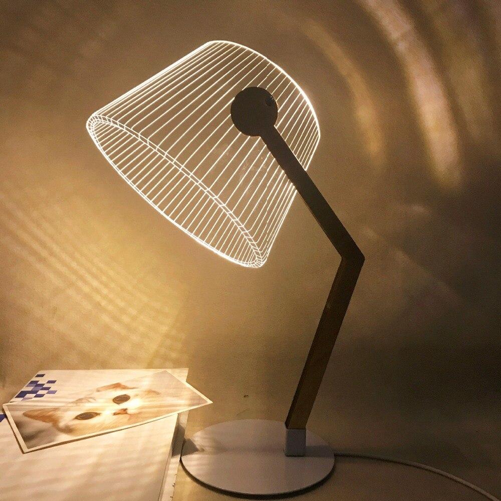 HZFCEW Simple Nordic Style LED Night Light 3D Acrylic Creative Table Lamp Bedside Decoration Desk Lamp