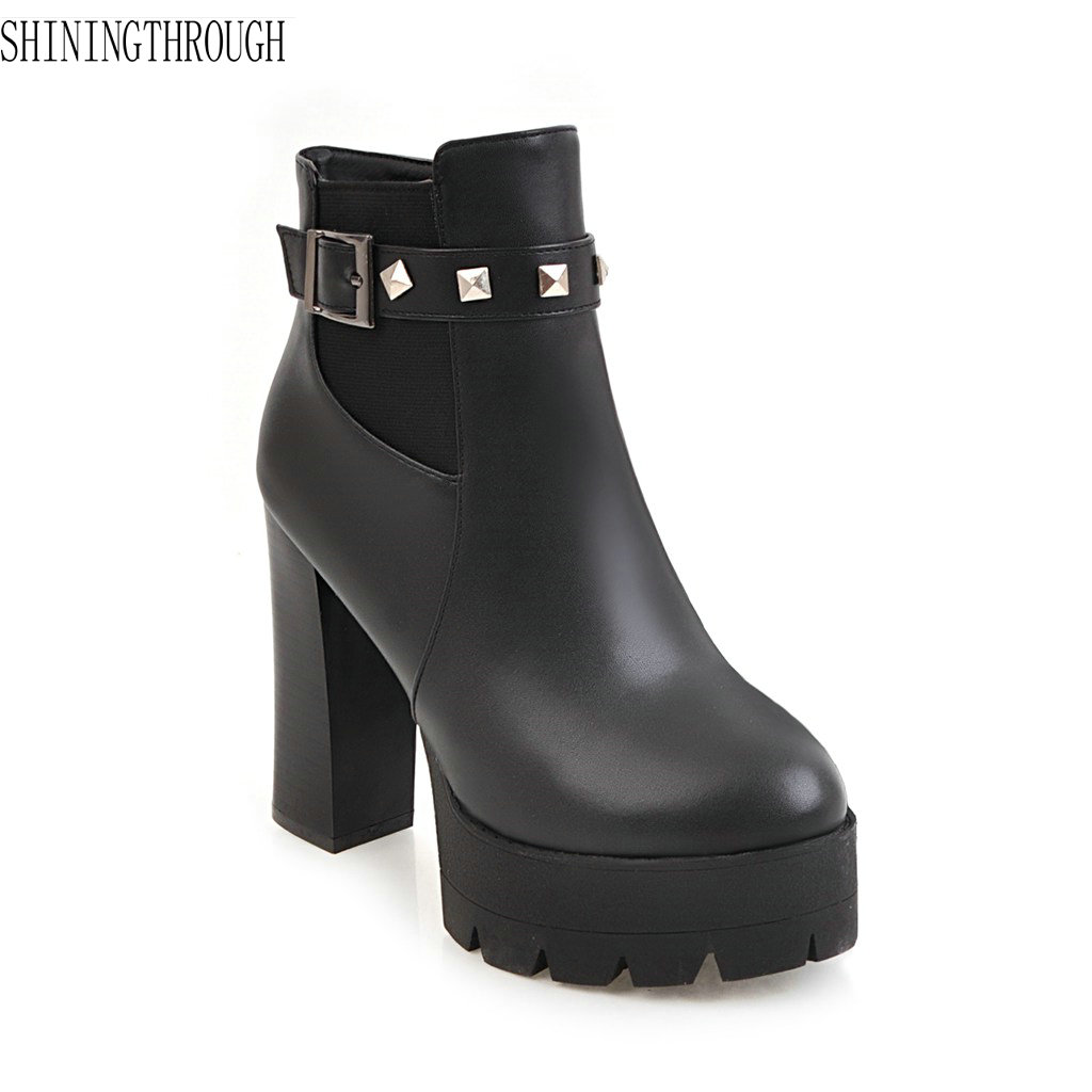 2018 New women autumn winter boots high heels boots woman sexy rivet ankle boots dress shoes woman large size 34-43