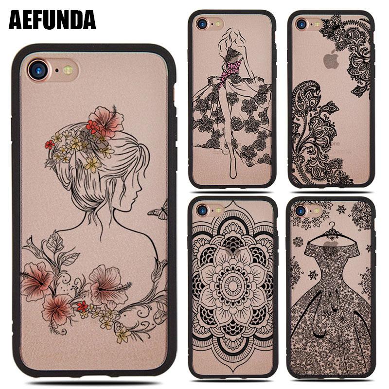 Sexy Lace Pattern Cases for iPhone 6S 7 8 6 X Plus 8Plus 7Plus TPU Back Cover Black Bra Bikini Dress Flower Print Girly Case