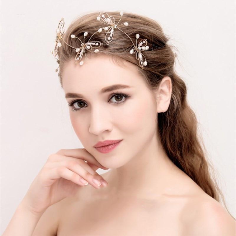 lin estudio moda peinados de novia oro hojas de la boda de la mariposa accesorios para
