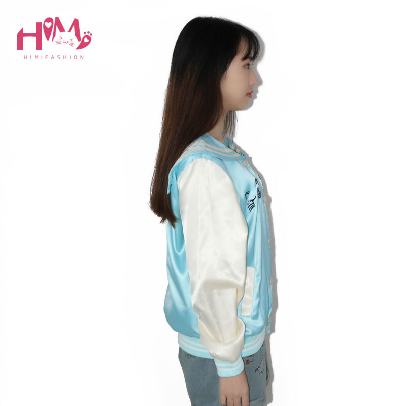 New Fashion Ladies Sky Blue All-match Cat Embroidery Thin Coat Female Loose Pink Autumn Spring Jacket Women Sailor Collar  1