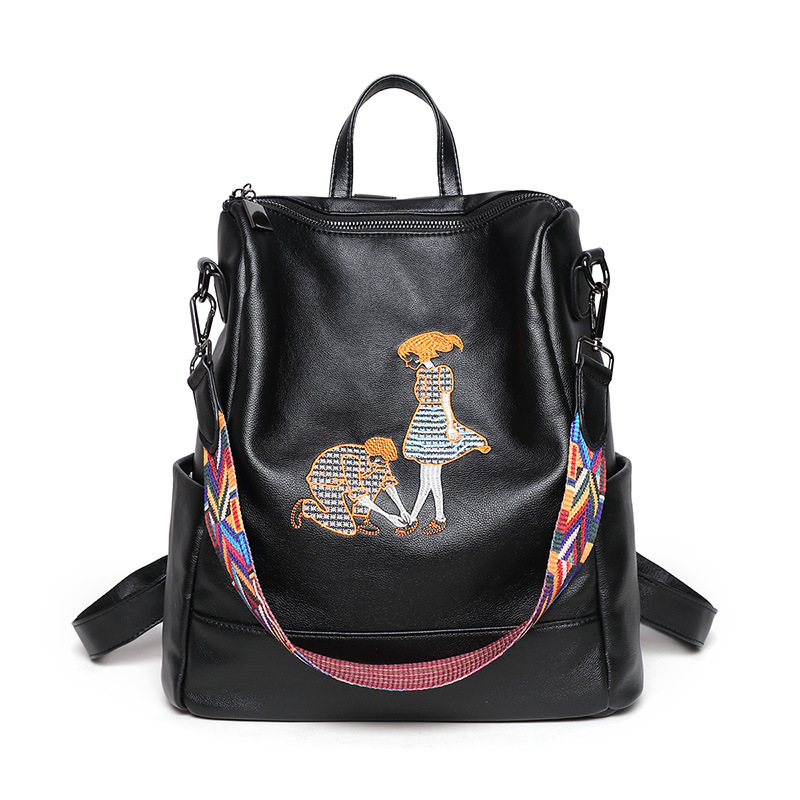 Fashion Color Wide Belt Leather Shoulder Bag Woman Embroidery Ribbon Multifunction Backpack Casual School Bags