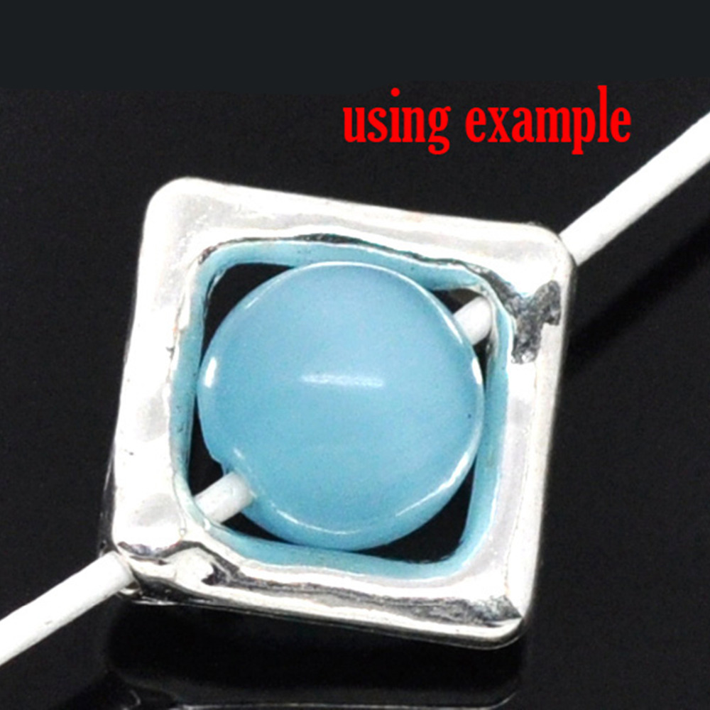 DoreenBeads Zinc Metal Alloy Beads Frames Square Silver Color (Fits 8.0mm Beads) 12.0mm( 4/8