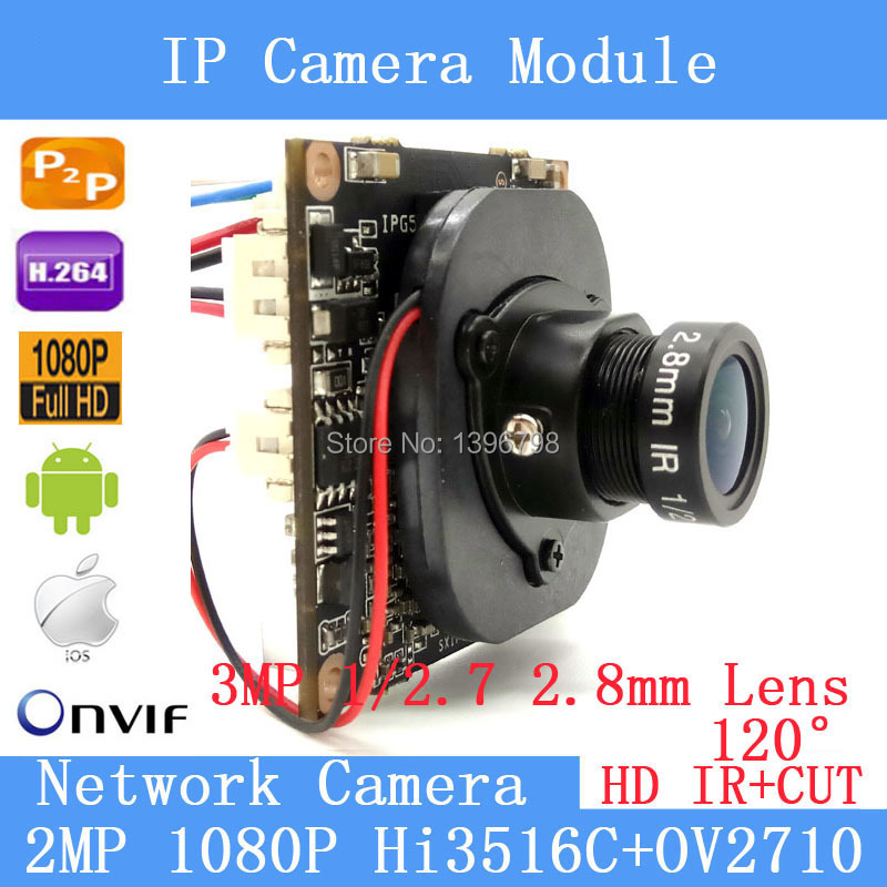 1080P P2P 1 / 2.7 HI3518C + OV2710 IP Camera Module ONVIF 120-degree night vision survei ...