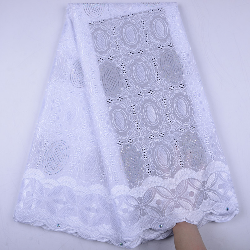 Pure White African Lace Fabric Swiss Voile With Stones Swiss Cotton Lace High Quality 2019 Swiss