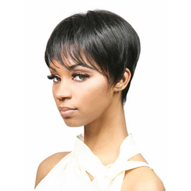 Medusa hair products  Afro boy cut Short pixie wigs for black women  straight Synthetic african american wig with bangs SW0110 7c63adfec3