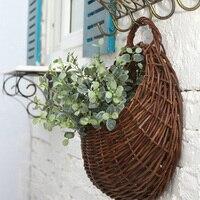 ใหม่หวายกระเช้าดอกไม้ตกแต่งผนังที่ไม่ซ้ำแขวนกระถางดอกไม้สำหรับพืชเทียมตกแต่งงานแต่งงา...