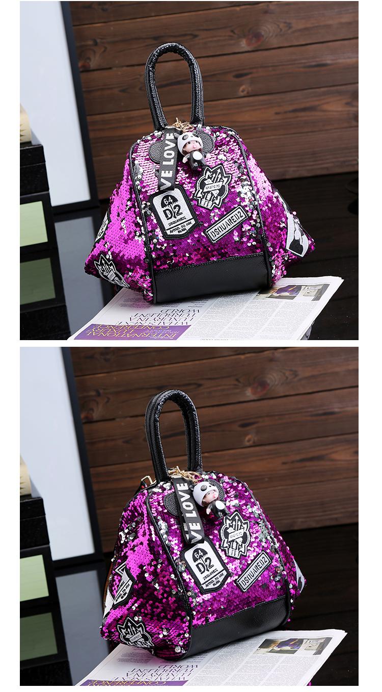 backpack women Fashion Women Bling Shiny Sequins Sparkling Shoulder Bags Larger Capacity Drawstring Bag backpack 86