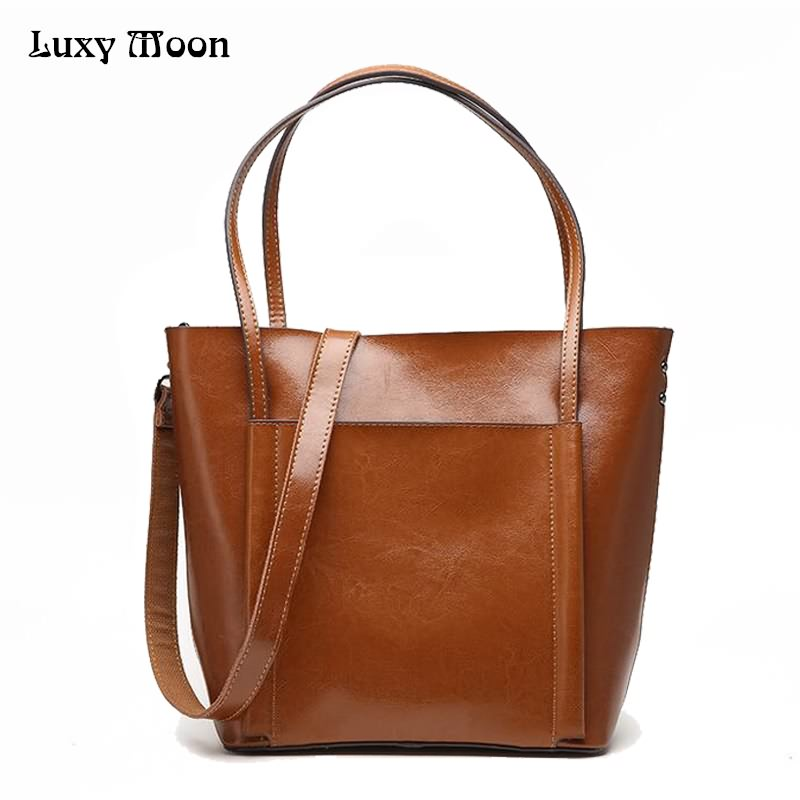 Luxy Moon Women s bag Genuine Leather Fashion New Larger Tote Female Messenger Shoulder Bags Solid