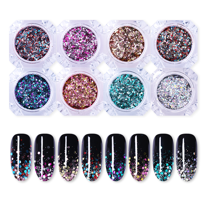 1g Nail Glitter Sequins Bling Sparkling Gradient Pigment Powder DIY Image Shimmer Color UV Gel Nail Art Flakes DIY Decorations