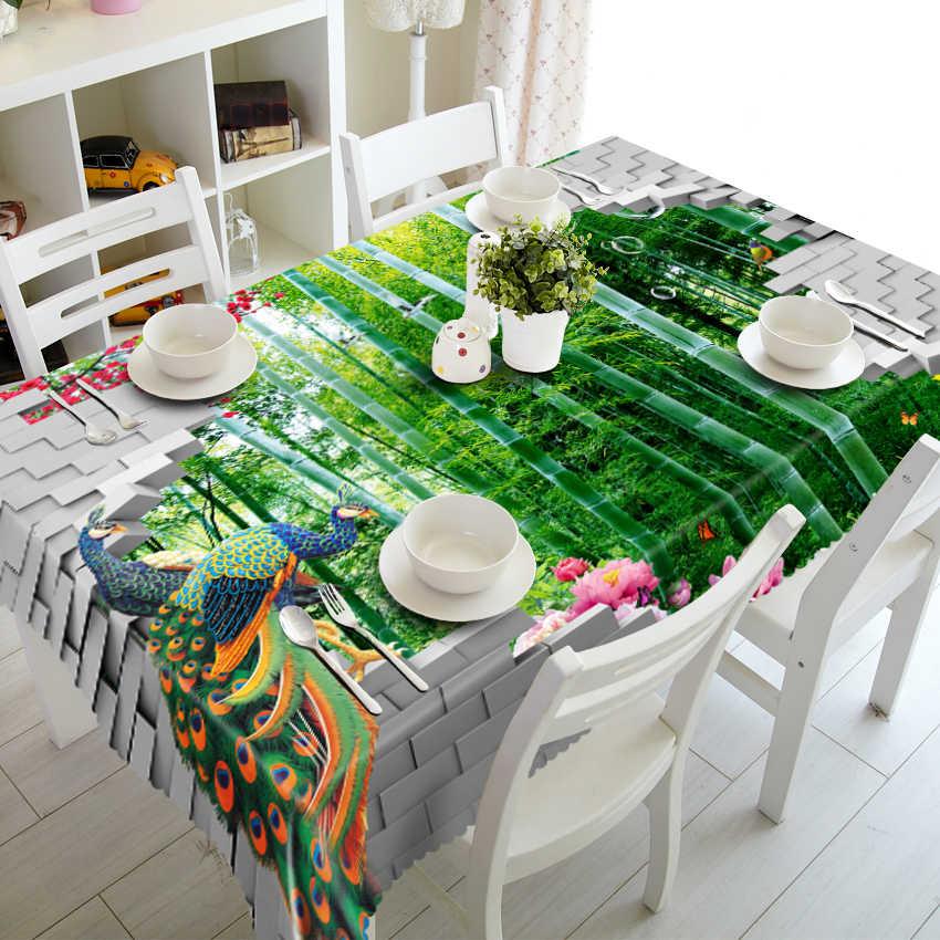 Индивидуальные скатерти прямоугольный Европейский Пикник bamboo Павлин скатерть кофе водостойкие круглый покрытие стола наволочка