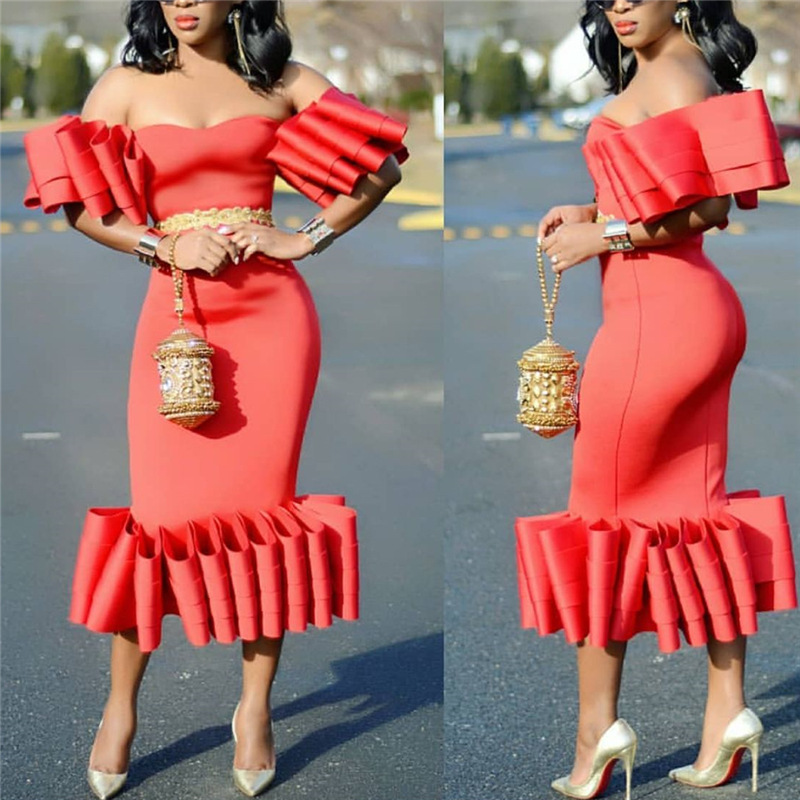 2019 new arrival sexy fashion style african women plus size beauty polyester dress S XXL in Africa Clothing from Novelty Special Use